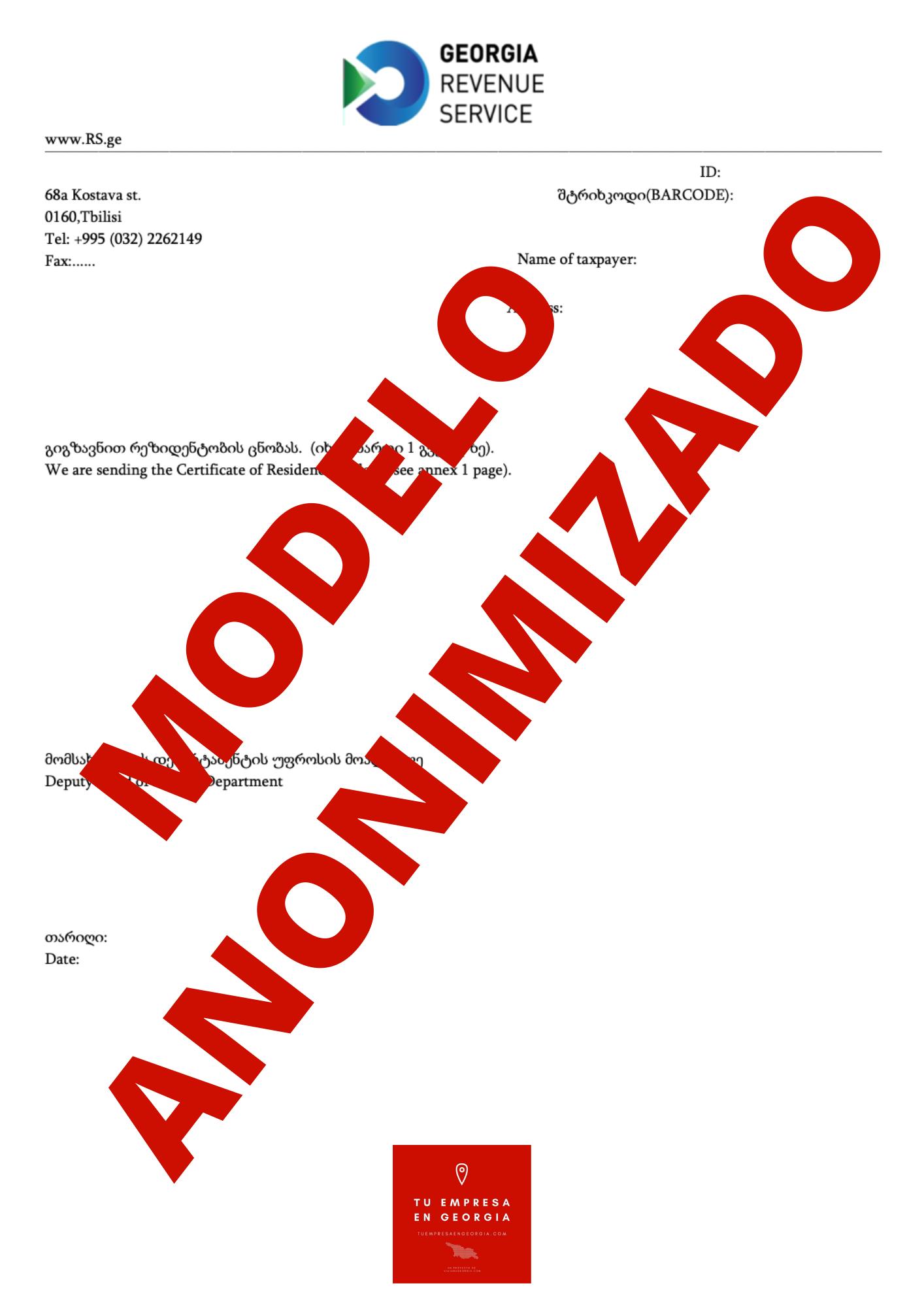 Certificado Fiscal Georgia (Modelo Anonimizado) 1