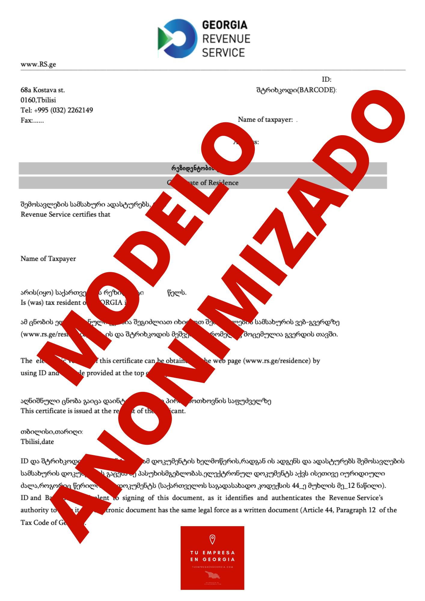 Certificado Fiscal Georgia (Modelo Anonimizado) 2