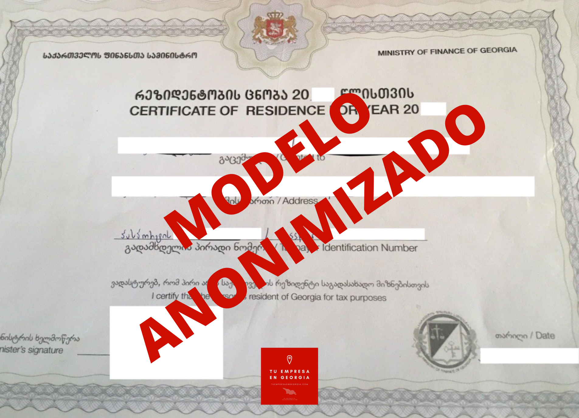Certificado Fiscal Georgia (Modelo Anonimizado) 3
